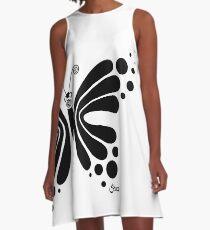 Hypnotic Butterfly B&W - Shee Vector Shape A-Line Dress