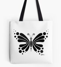Hypnotic Butterfly B&W - Shee Vector Shape Tote Bag