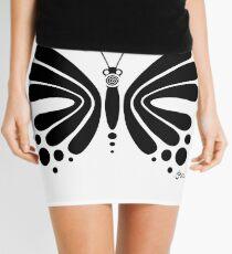 Hypnotic Butterfly B&W - Shee Vector Shape Mini Skirt