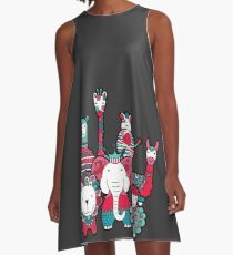 Doodle Animal Friends Pink & Grey A-Line Dress