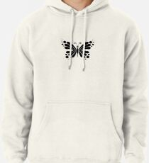 Hypnotic Butterfly B&W - Shee Vector Pattern Pullover Hoodie