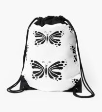 Hypnotic Butterfly B&W - Shee Vector Pattern Drawstring Bag