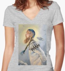 Nordic and Silver Women's Fitted V-Neck T-Shirt
