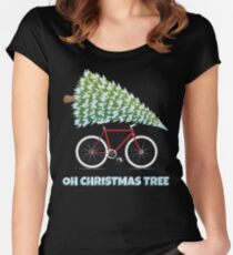 Christmas Bicycle Gifts Oh Christmas Tree Funny Cycling Gifts Women's Fitted Scoop T-Shirt