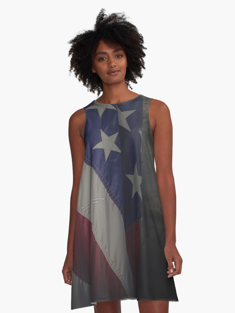 Marcus Aurlius Quote with USA Flag (You must become an old man in good time if you wish to be an old man long) MAGA - Online Store A-Line Dress Front