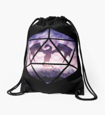 Purple Sky Dragon D20 Drawstring Bag