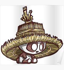 Póster Panda con sombrero de arroz de gran tamaño