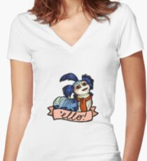 Ello - Labyrinth Worm Women's Fitted V-Neck T-Shirt