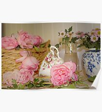 Teacup and Rose Still Life 1 Poster