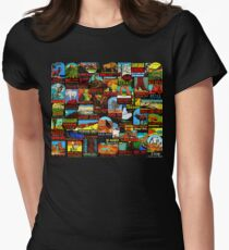 American National Parks Vintage Travel Decal Bomb Women's Fitted T-Shirt