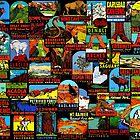 «Bomba de calcomanías de viajes vintage de parques nacionales estadounidenses» de hilda74