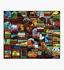 American National Parks Vintage Travel Decal Bomb Photographic Print