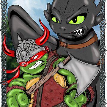 Viking Turtle Traning his Dragon by nicitadesigns