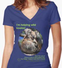 I'm helping wild koalas - Pat Women's Fitted V-Neck T-Shirt