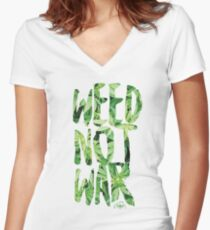 Weed Not War Women's Fitted V-Neck T-Shirt