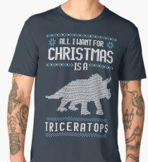 Christmas Triceratops Dinosaur Ugly Sweater Style Men's Premium T-Shirt