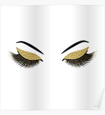 Glittery gold lashes Poster