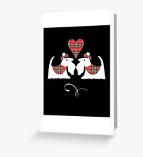 White Scotch Terrier Dogs In Tartan Greeting Card