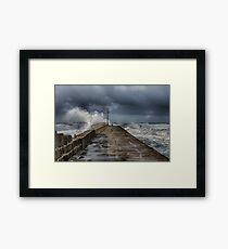 Storm at Porthleven cornwall Framed Print