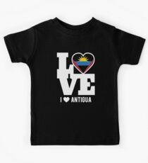 Love Antigua T-Shirt Patriotic Antiguan Expat Kids T-Shirt