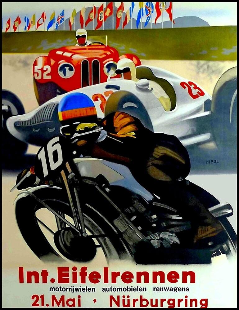 NURBURGRING; Vintage Grand Prix Auto-Motorcycle Print by posterbobs