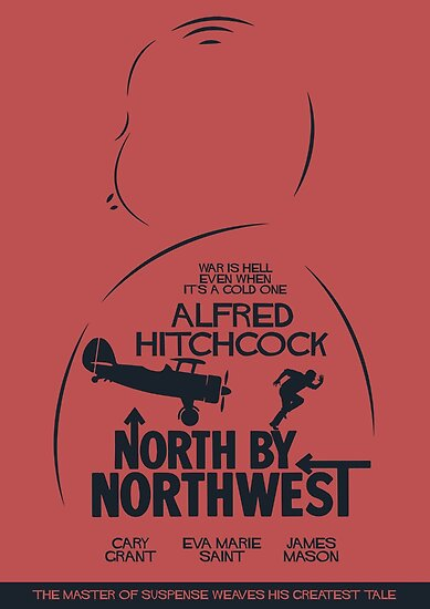 North by Northwest, Hitchcock, movie poster, alternative, thriller, minimal, Intrigo Internazionale by Spallutos