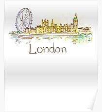 London Panorama at night Poster