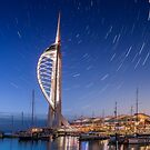 Spinnaker Tower With Star Trails by manateevoyager