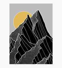 The dark peaks under the golden sun Photographic Print