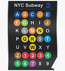 New York City subway alphabet map - dark version, NY, NYC, metro, tube Poster