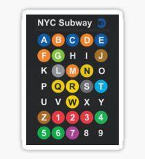 New York City subway alphabet map - dark version, NY, NYC, metro, tube Sticker