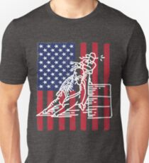 Barrel Racing USA Flag Design T-Shirt