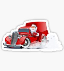 Cartoon retro Christmas delivery truck Sticker