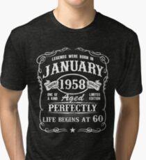 Born in January 1958 - legends were born in January 1958 Tri-blend T-Shirt
