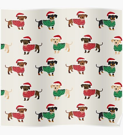Dachshund christmas sweater cute holiday gifts doxie dachsie dog breed Poster