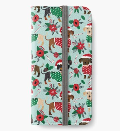Dachshund christmas sweater poinsettia cute holiday gifts doxie dachsie dog breed iPhone Wallet