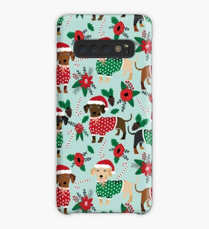 Dachshund christmas sweater poinsettia cute holiday gifts doxie dachsie dog breed Case/Skin for Samsung Galaxy