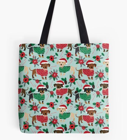 Dachshund christmas sweater poinsettia cute holiday gifts doxie dachsie dog breed Tote Bag