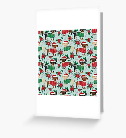 Dachshund christmas sweater poinsettia cute holiday gifts doxie dachsie dog breed Greeting Card