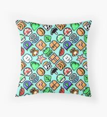 Super Mario Bros. 3 / Items 2 / pattern / blue Throw Pillow