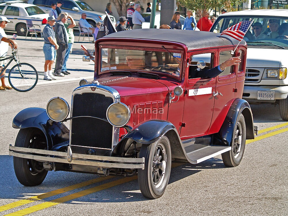 Lovely Burgendy Car in Veteran's Day Parade. What is it, guys? by Memaa