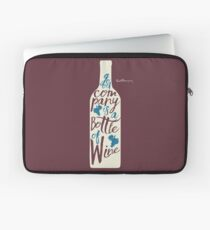 Ernest Hemingway on wine, good company is a bottle of wine, original signature handwritten quote for fun, motivation, inspiration, bar, pub, restaurants, home decor Laptop Sleeve