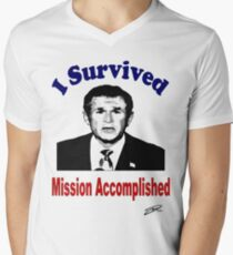 I Survived BUSH! Men's V-Neck T-Shirt