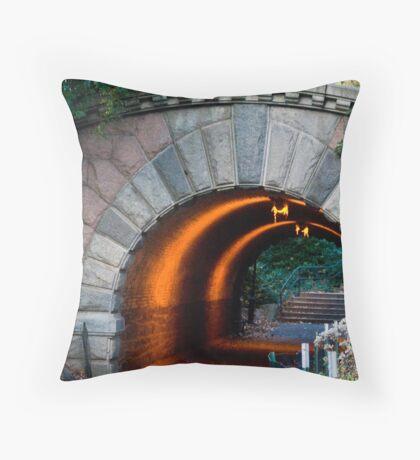 view under walking bridge Throw Pillow