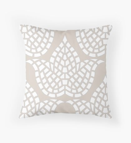 Hygge Pattern Mosaic Botanical Beige Grey And White Throw Pillow