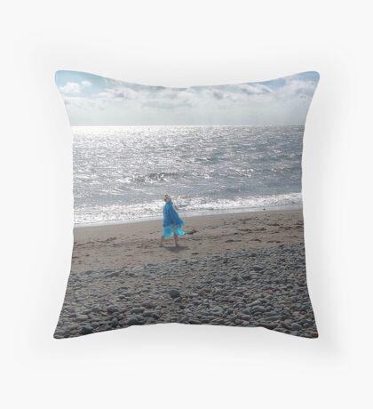 Windblown Lady Throw Pillow