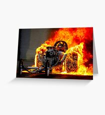 DRAG RACE; Vintage Automobile Burn-Out Print Greeting Card
