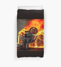 DRAG RACE; Vintage Automobile Burn-Out Print Duvet Cover