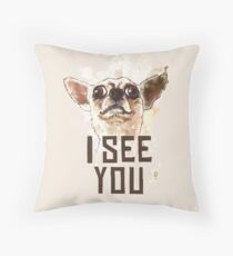 Funny Chihuahua watercolor - I see you Throw Pillow