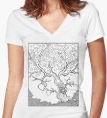 Tree Needs Coffee And Doughnuts Women's Fitted V-Neck T-Shirt